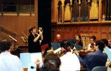 Rehearsing in Hecht Auditorium